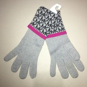 Michael Kors Knit Logo Gray/Black/Pink Glove OS